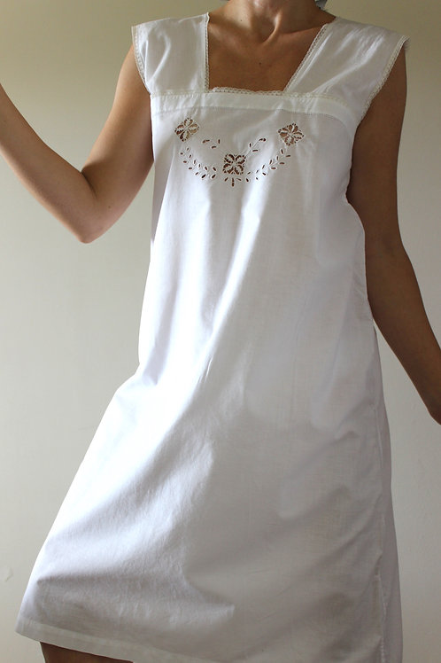 ANTIQUE Hand-embroidered Italian Cotton Slip Dress