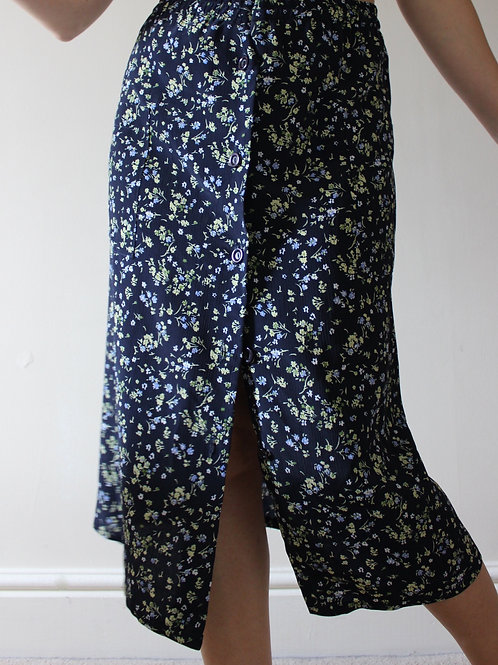 Vintage Floral Midi Skirt with Buttons & Pockets MADE in FRANCE