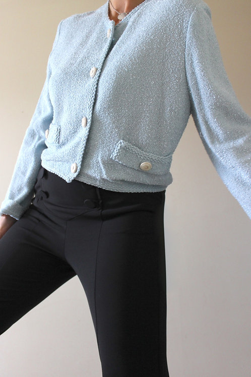 Vintage Pastel Blue Cropped Bouclé Cardigan, MADE in ITALY