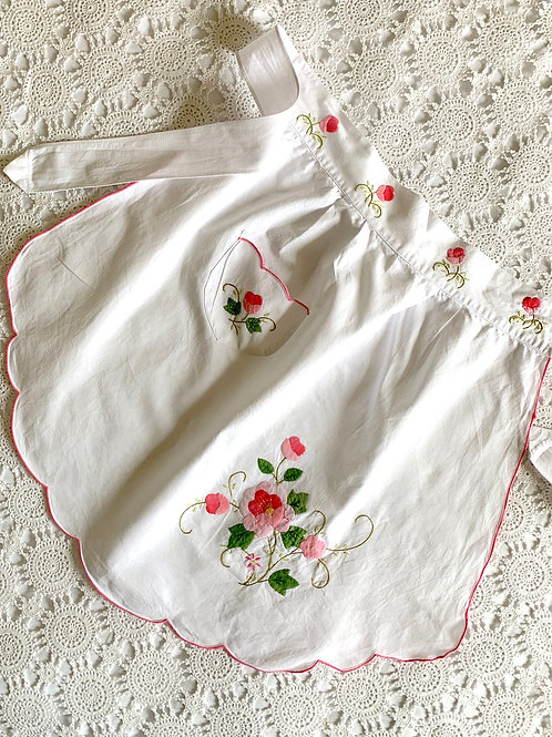 Vintage 1950s Hand-embroidered Kitchen Apron with Front Pocket