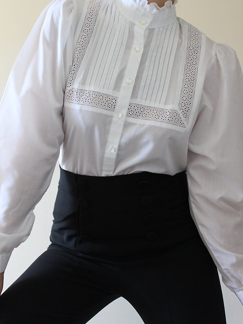 VINTAGE High Neck Edwardian-style Trachten Blouse