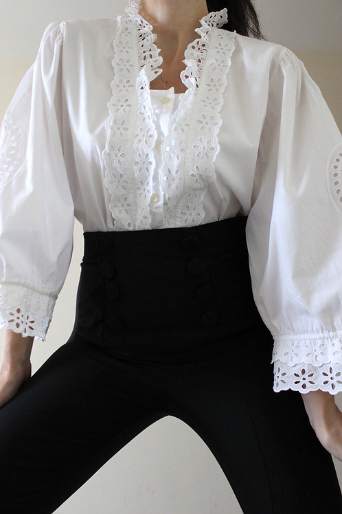 100% Cotton Puff Sleeve Vintage Austrian Blouse with Broderie Anglaise