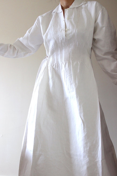 Antique Pure Linen Embroidered Dress with Belt and Peter Pan Collar