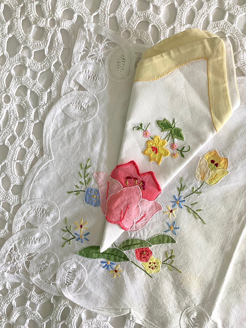 Vintage Hand-embroidered Italian Breakfast Mat with 2 Matching Napkins