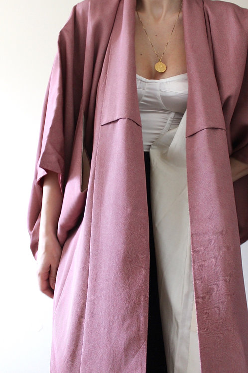 Vintage 100% SILK Full Length Luxury Japanese Kimono with Ombré Lining