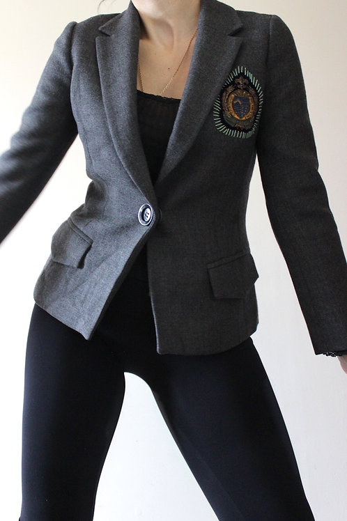 Vintage 100% WOOL School-Style Blazer Made in France