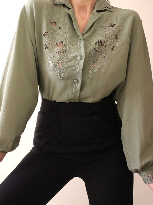 Pure Silk Embroidered Cutwork Blouse
