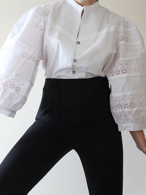 Vintage Austrian Blouse with Broderie Anglaise Puff Sleeves