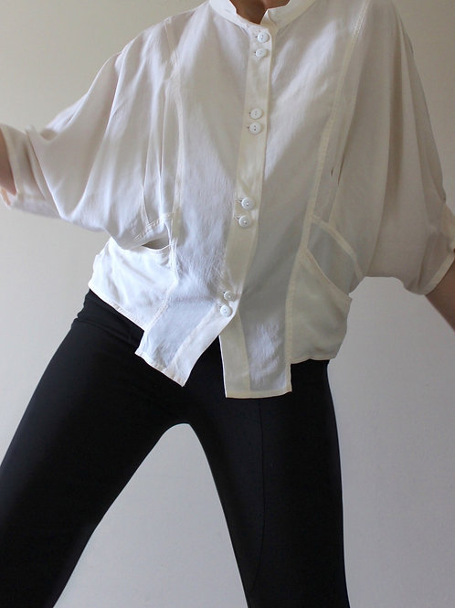 100% SILK Loose Fit 90s Top with Pockets