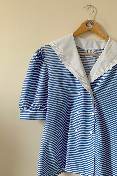 RARE Vintage 100% COTTON Laura Ashley Sailor Shirt, Made in Great Britain