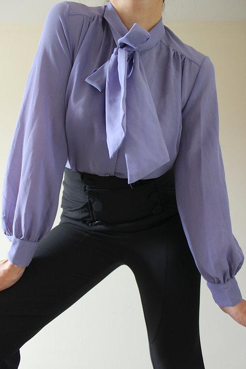 Vintage Purple Secretary Blouse with Neck Tie