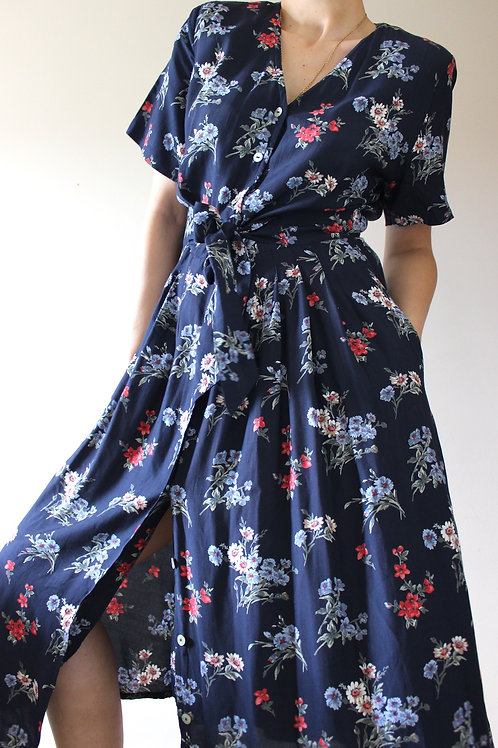 Vintage Navy Floral Dress with Pockets & Adjustable Belt