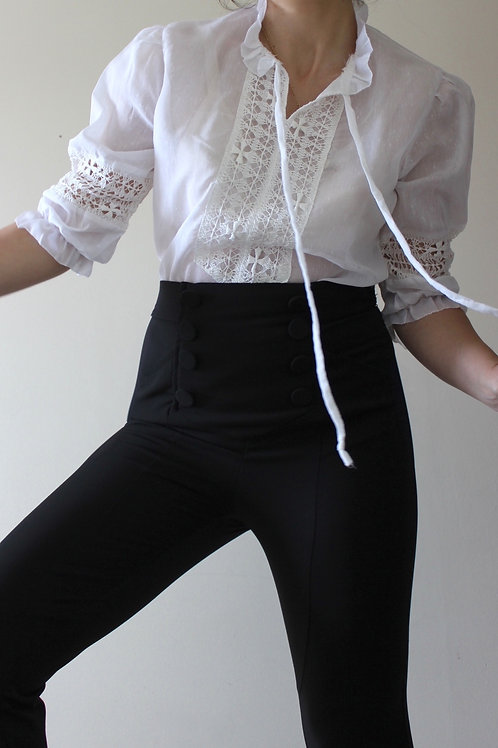 Vintage Poet Blouse with Lace Sleeves & Neck Tie