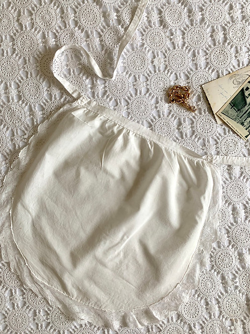 ANTIQUE French Handmade Cotton Tie-Back Apron with Lace