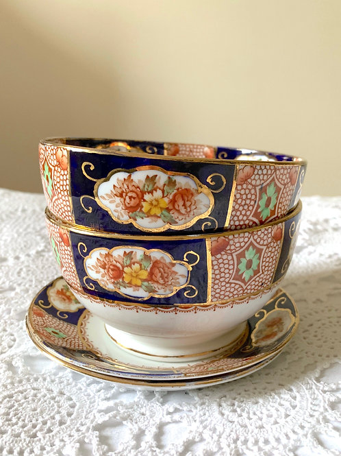 Antique Hand-painted ROYAL STAFFORD 2x Breakfast Bowls Set MADE in ENGLAND