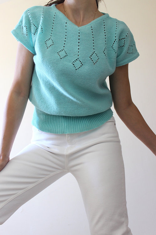 Vintage Acqua Knit Top with Cap Sleeves