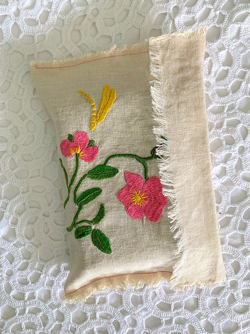 ANTIQUE Large Handmade & Hand-embroidered Unbleached Cotton Pochette