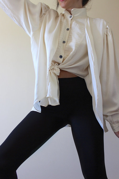 100% SILK Vintage Double Layer Cream Blouse MADE in ITALY