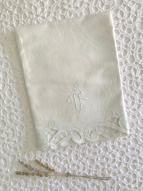 RARE 1920s XL Unbleached LINEN Bath Towel with Embroidery and Monogram