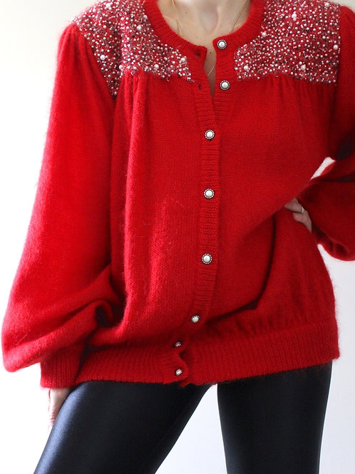 Vintage Chunky Balloon Sleeve Mohair Jumper with Pearl Embroidery MADE in ITALY