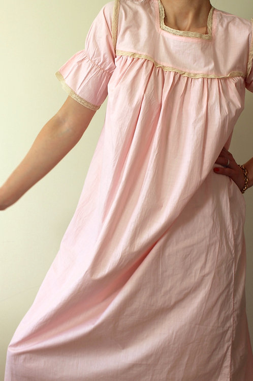RARE Antique Pure Cotton Empire Line Dress with Puff Sleeves
