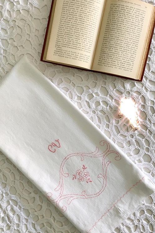 Italian Vintage Pure Cotton Monogrammed Pillow Case