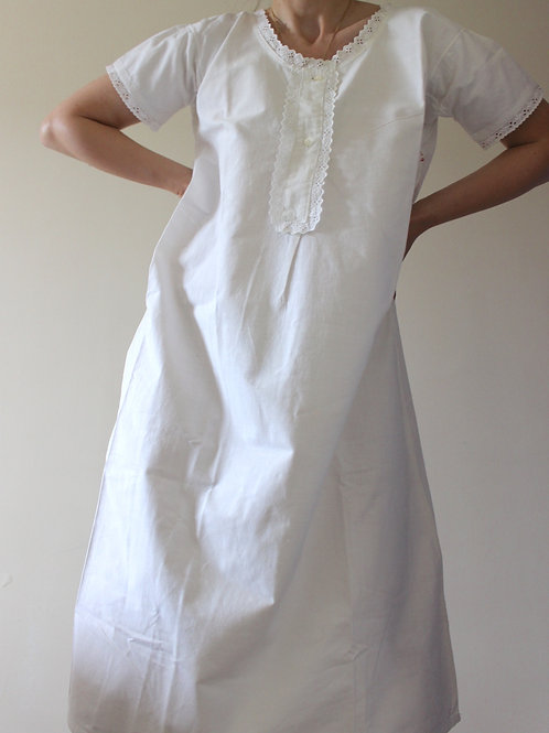 ANTIQUE French PURE LINEN Nightgown with Broderie and RARE Monogram