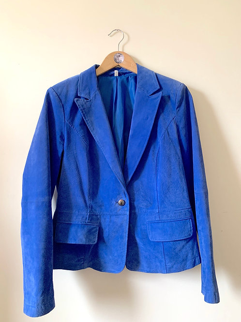 Vintage Blue Suede Blazer with Metal Buttons