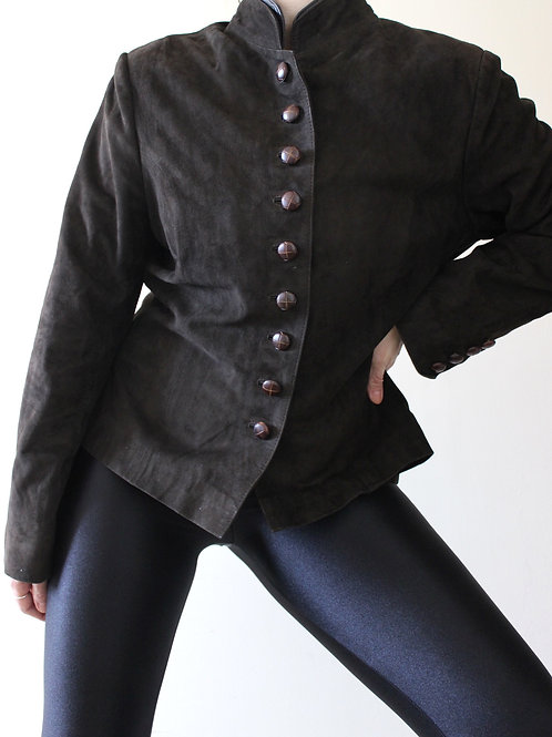 Vintage Brown Suede Folk Jacket with Leather Buttons