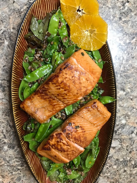 Citrus Salmon with Barley, Spring Pea and Mint Salad