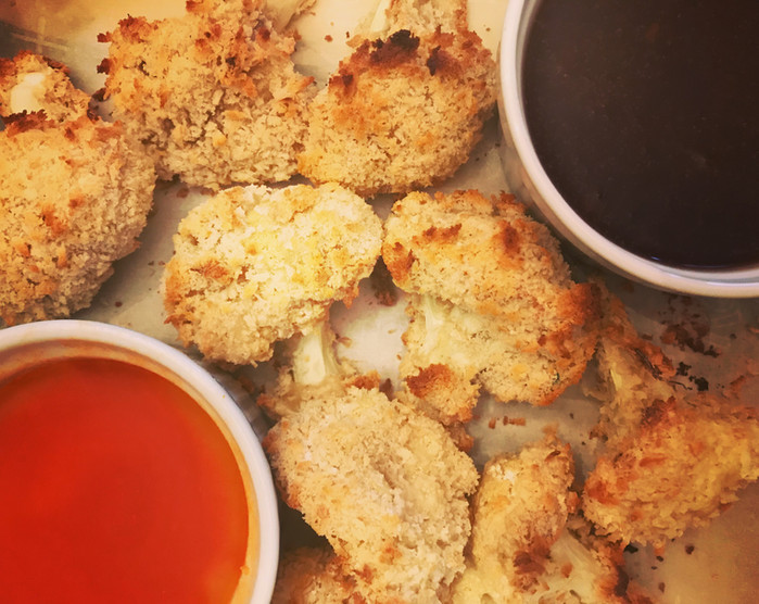 Cauliflower Poppers with Dipping Sauces
