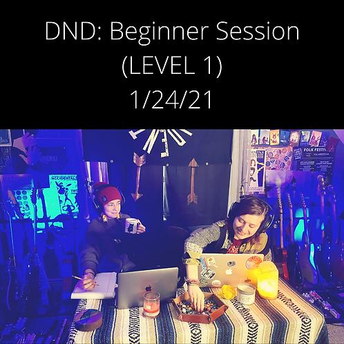 DND: Beginner Session (LEVEL 1) - 1/24/21