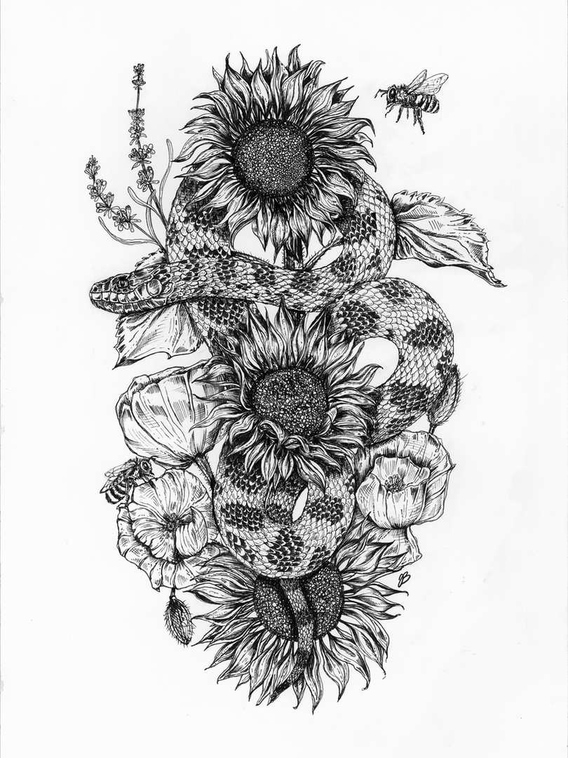 The snake the flowers and the bees