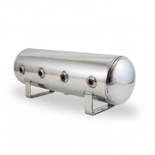 "2.5 Gal Alum Air Tank - (4) 1/4"" face ports, & 1/4"" drain port - 20"" L x 6"" D -"