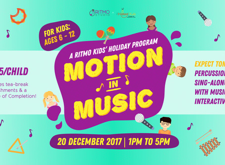 """Calling all Primary School Kids, come have fun at our """"Motion in Music"""" Workshop!"""