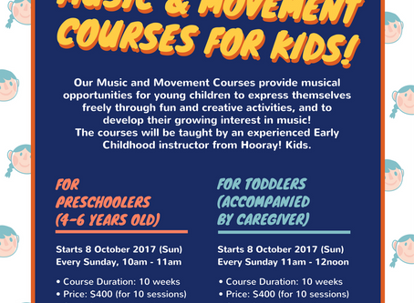 Launching our Music & Movement Course for Kids on 8 October!
