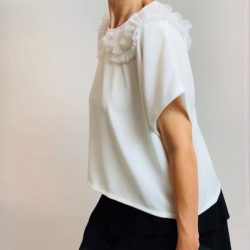 white mesh ruffle top