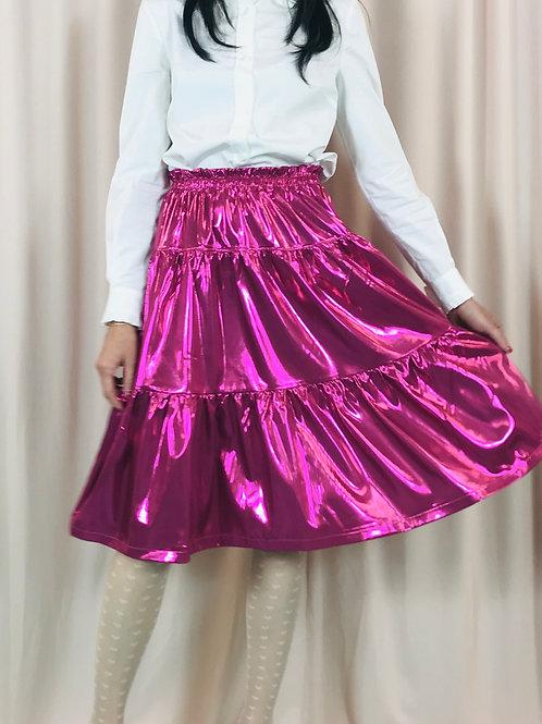 Metallic Pink midi skirt