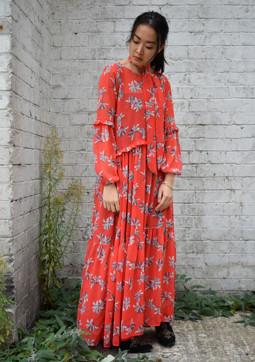 1bd6737a1b5 Red Floral Maxi Dress With Frill Detail