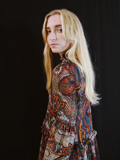 Paisley Printed Midi Dress With High Neck