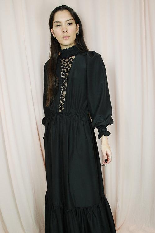 Black Slinky High Neck Mesh Front Maxi Dress