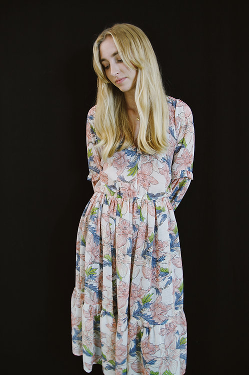 Plue Floral Midi Dress With Ruffle Detail