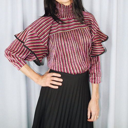 Pink Stripe Metallic Top With High Neck