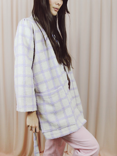 Lilac And Cream Checked Wool Kimono With Belt