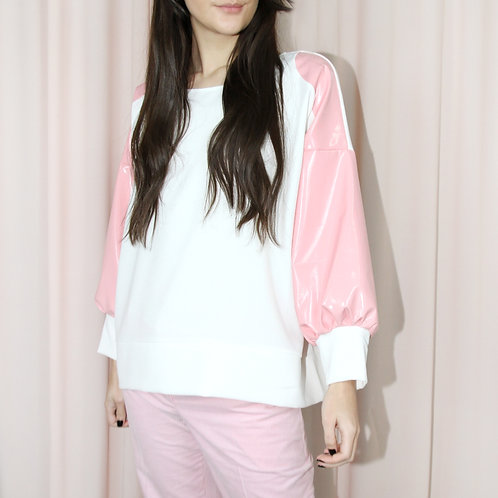 Oversized Top With Patent Pink Sleeves