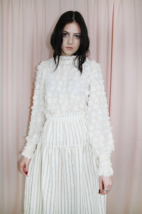White Floral Embellished Top