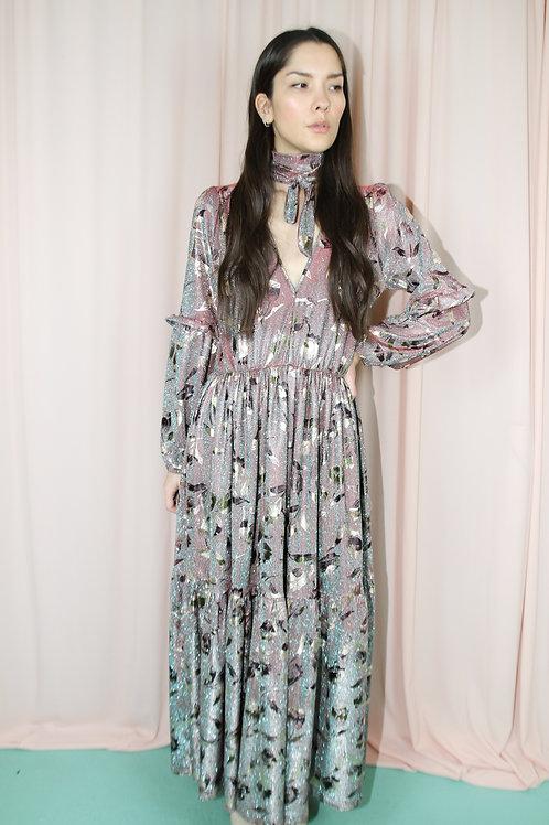 Plunge Neck Floral Metallic Ruffled Maxi Dress