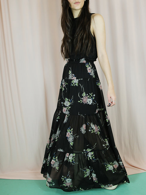 Black Sheer Floral Tiered Maxi Skirt