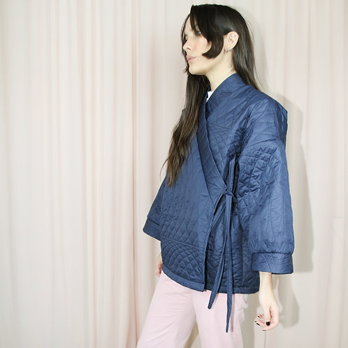 Navy Blue Quilted Belted Kimono