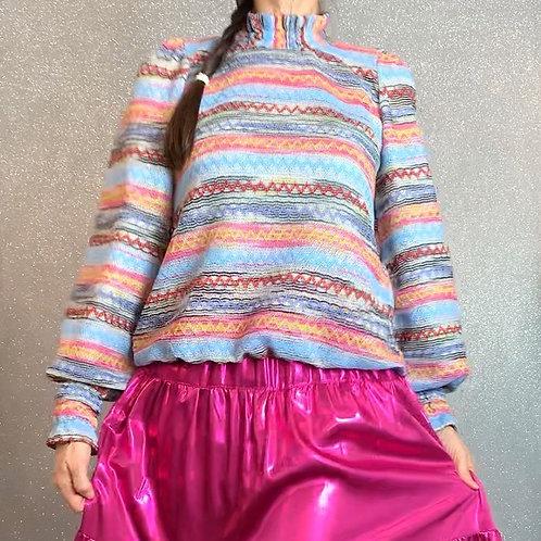 Multi Coloured  Ruffle Neck Crochet Top